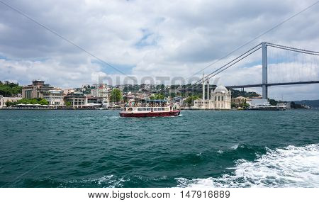 ISTANBUL, TURKEY - JUNE 25, 2015: Panoramic view of Istanbul and Bosphorus which separates Asian Turkey from European Turkey in Istanbul Turkey.