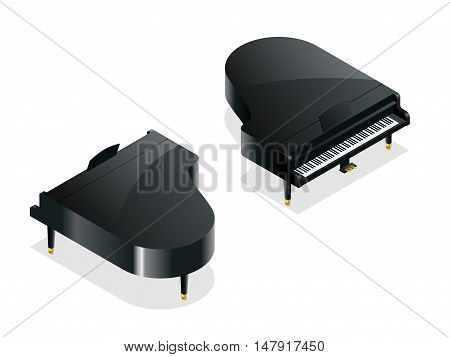 Isometric Black grand piano. Isolated on white background
