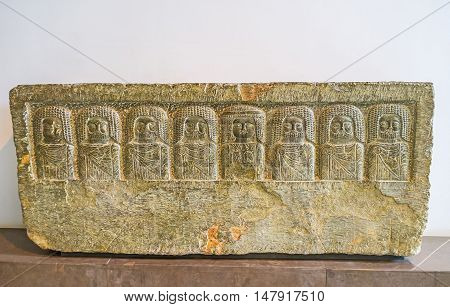 TUNIS TUNISIA - SEPTEMBER 2 2015: The preserved Carthage relief in Bardo National Museum is the fine example of the ancient art on September 2 in Tunis.