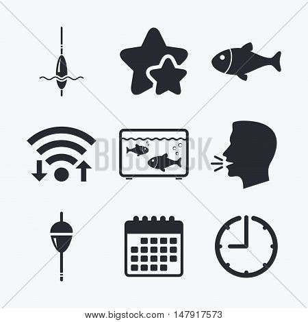 Fishing icons. Fish with fishermen hook sign. Float bobber symbol. Aquarium icon. Wifi internet, favorite stars, calendar and clock. Talking head. Vector