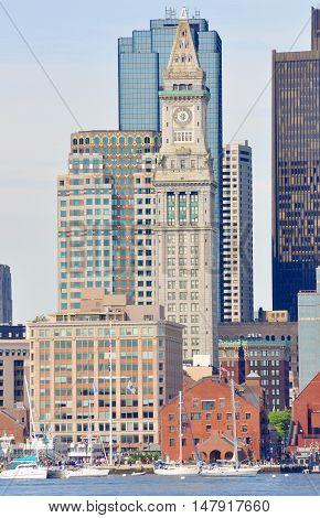 Boston Custom House and Long Wharf in Financial District, Boston, Massachusetts, USA