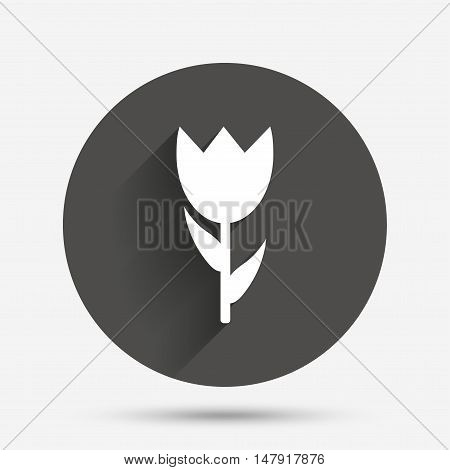 Flower sign icon. Rose symbol. Macro. Circle flat button with shadow. Vector