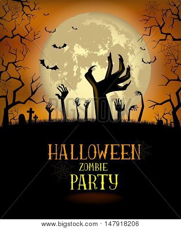 Halloween a background for a poster or the zombie's party invitation