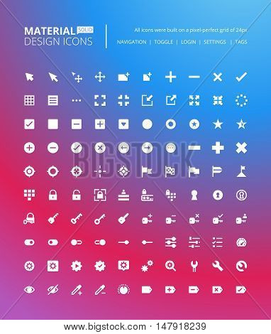 Pixel perfect solid material design icons. Set of premium quality icon for navigation, settings, buttons and toggles.