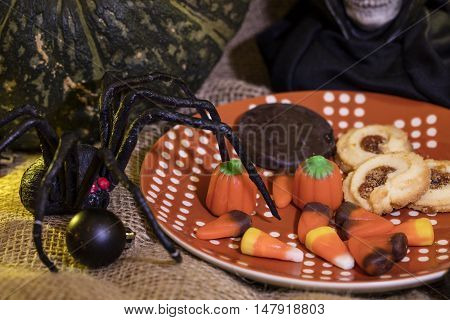 Halloween cookies candy and decor for the holiday season