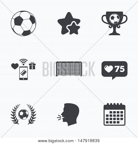 Football icons. Soccer ball sport sign. Goalkeeper gate symbol. Winner award cup and laurel wreath. Flat talking head, calendar icons. Stars, like counter icons. Vector