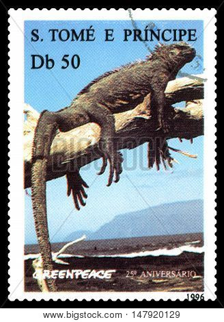 STAVROPOL RUSSIA - SEPTEMBER 18.2016: A stamp printed in Sao Tome and Principe shows Iguana (Cyclura nubila) series Greenpeace circa 1992