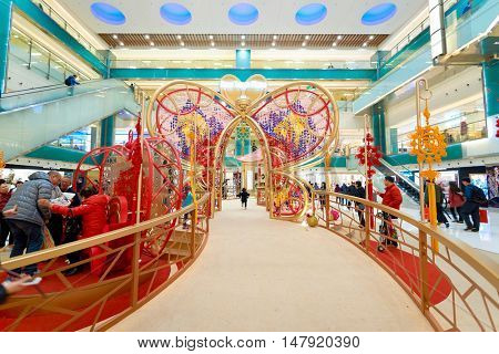 HONG KONG - CIRCA JANUARY, 2016: decorations at New Town Plaza shopping mall. New Town Plaza is a shopping mall in the town centre of Sha Tin in Hong Kong.
