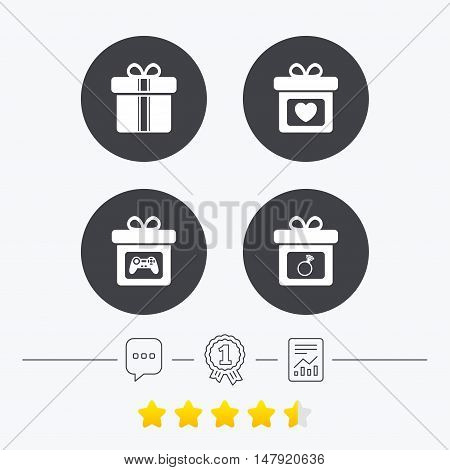 Gift box sign icons. Present with bow and ribbons symbols. Engagement ring sign. Video game joystick. Chat, award medal and report linear icons. Star vote ranking. Vector