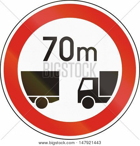 Road Sign Used In Hungary - Minimum Distance Between Trucks
