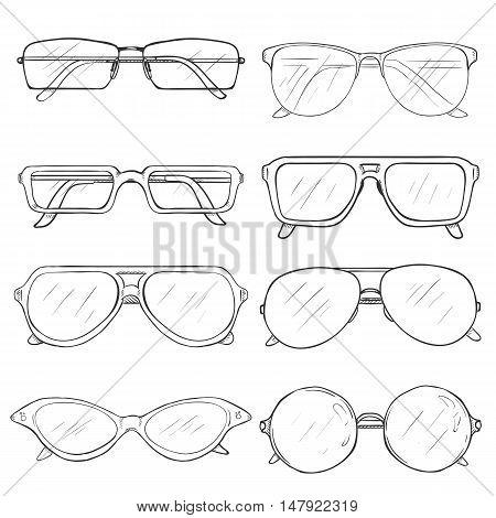 Vector Set Of Sketch Glasses. Eyeglass Frames