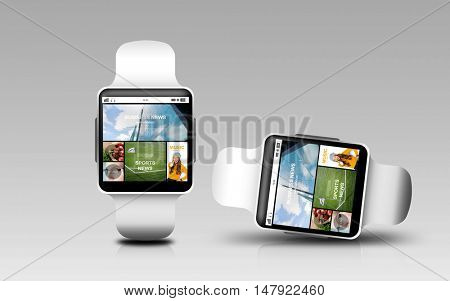 modern technology, responsive design, object and media concept - smart watches with internet news application on screen over gray background