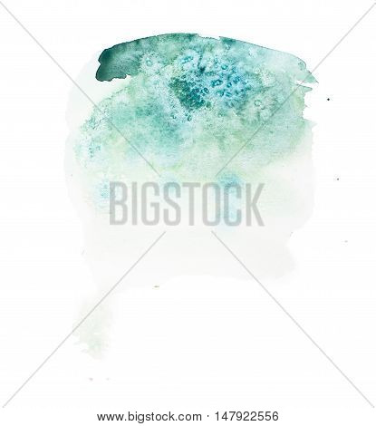 Watercolor aquarelle hand drawn teal color shape art paint splatter stain.