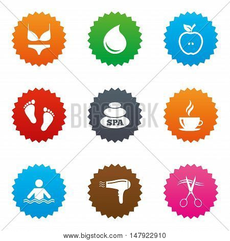 Spa, hairdressing icons. Swimming pool sign. Lingerie, scissors and hairdryer symbols. Stars label button with flat icons. Vector
