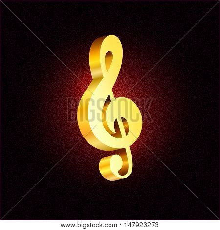 Vector gold treble clef 3D style symbol