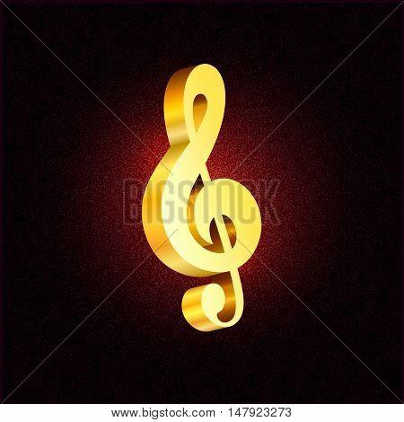 Vector gold treble clef 3D style symbol