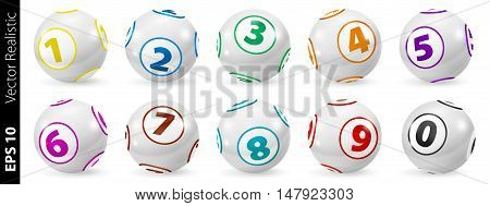 Vector Colorful Bingo. Lottery Number Balls. Colored balls isolated. Bingo balls set. Bingo balls with numbers. Set of colored balls. Realistic vector. Lotto concept.