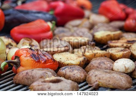 Red green bell peppers potatoes mushrooms tomatoes and eggplant grilled until golden brown. The concept of proper nutrition and a healthy lifestyle. Cooking vegetables on the barbecue.
