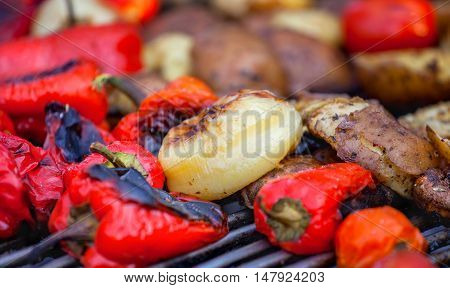 Red bell peppers potatoes mushrooms tomatoes and eggplant grilled until golden brown. The concept of proper nutrition and a healthy lifestyle. Cooking vegetables on the barbecue.