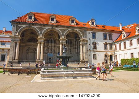 Prague, Czech Republic - August 20, 2011: Unidentified People Visit Wallenstein Palace Currently The