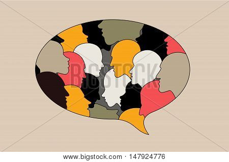 Human profile head discussion in dialogue bubble. Black and white yellow and red silhouettes.