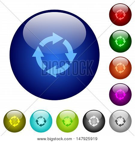 Set of color rotate right glass web buttons.