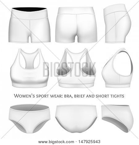 Women sportswear, sport bra, short tights and briefs. Fully editable handmade mesh. Vector illustration.