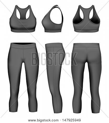 Women 3/4 long black tights and sport bra. Fully editable handmade mesh. Vector illustration.