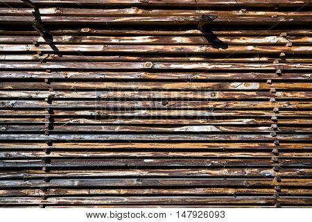 wooden boards stack as natural background, close up