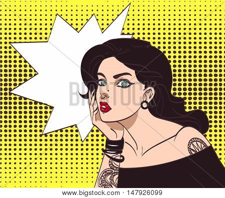 Vector beautiful gothic punk hipster girl in pop art style with tatoo and speech wow bubble. Eps 10 in many layers for your need.