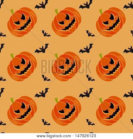 Halloween symbols pumpkin and bats seamless pattern on orange background trendy flat style illustration. Cute fun evil smiling october pumpkins jack-o'-lantern sign