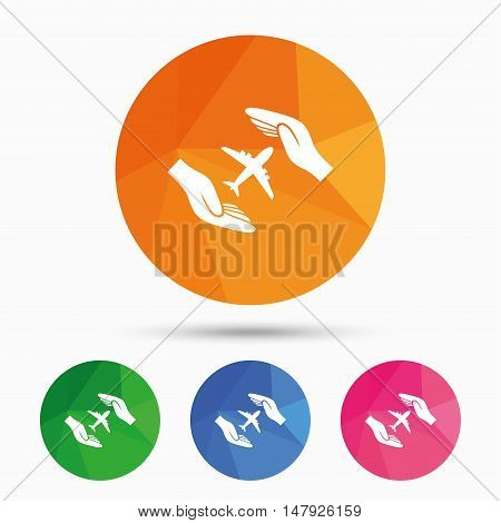 Flight insurance sign icon. Hands protect cover plane symbol. Travel insurance. Triangular low poly button with flat icon. Vector
