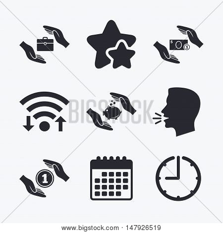 Hands insurance icons. Piggy bank moneybox symbol. Money savings insurance signs. Travel luggage and cash coin symbols. Wifi internet, favorite stars, calendar and clock. Talking head. Vector