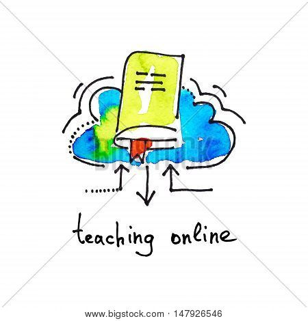 sketch watercolor icon of teaching online, distance education and learning concept vector illustration