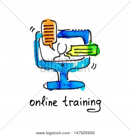 sketch watercolor icon of online training, distance education and  learning concept vector illustration