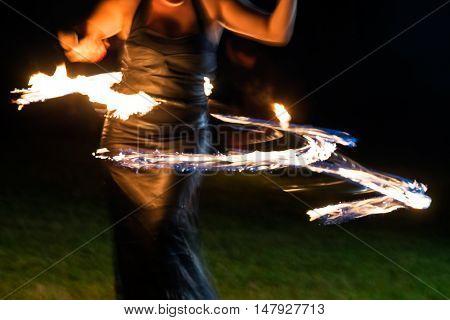 Public fire show organized in Timisoara Romania.Timisoara has been designated European Capital of Culture in 2021.