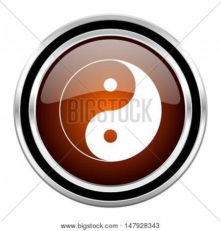 ying yang round circle glossy metallic chrome web icon isolated on white background