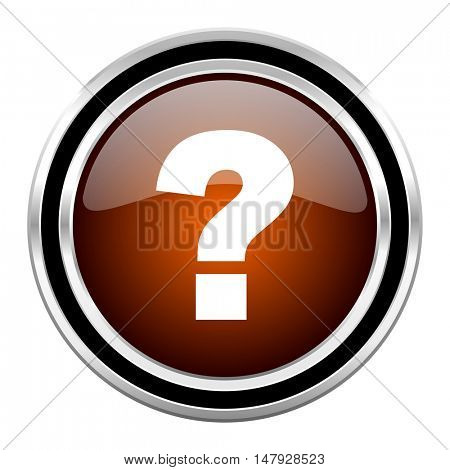 question mark round circle glossy metallic chrome web icon isolated on white background