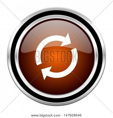 reload round circle glossy metallic chrome web icon isolated on white background
