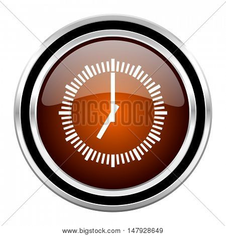 time round circle glossy metallic chrome web icon isolated on white background