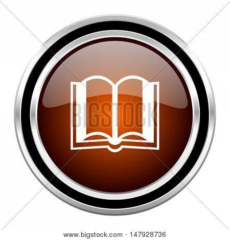 book round circle glossy metallic chrome web icon isolated on white background