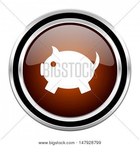 piggy bank round circle glossy metallic chrome web icon isolated on white background