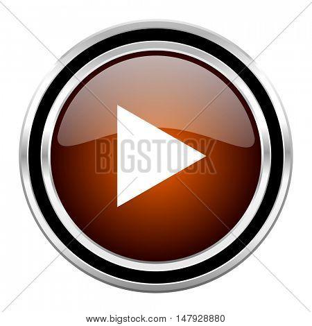 play round circle glossy metallic chrome web icon isolated on white background