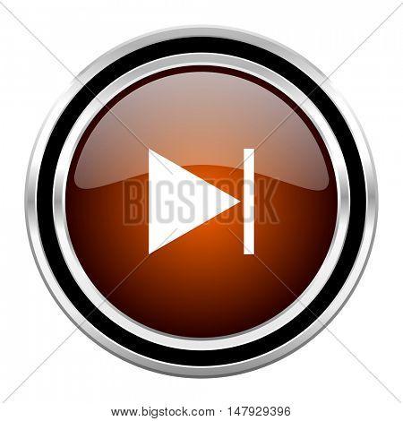 next round circle glossy metallic chrome web icon isolated on white background