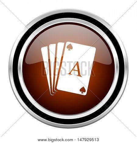 card round circle glossy metallic chrome web icon isolated on white background