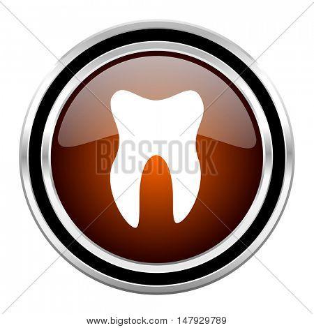 tooth round circle glossy metallic chrome web icon isolated on white background