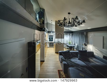 Stylish modern hall with glowing lamps and parquet with red carpet on the floor. There is blue sofa with pillows, kitchen island, table with chairs, mirror. Higher there is cloakroom and chandelier.