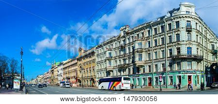 SAINT PETERSBURG RUSSIA - APRIL 25 2015: The walk along the Nevsky Prospect is the part of the tourist routes this is the main street with amazing architectural landmarks on April 25 in Saint Petersburg.