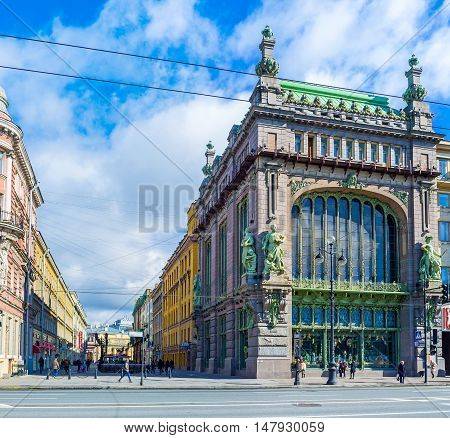 SAINT PETERSBURG RUSSIA - APRIL 25 2015: The facade of Nikolay Akimov Comedy Theatre former Eliseev merchant's mansion at Nevsky Prospect on April 25 in Saint Petersburg.