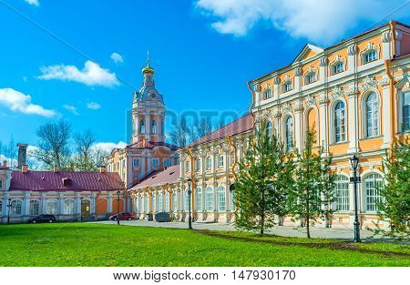 The Northen (Prosfornyi) Building and the Riznica tower of Alexander Nevsky Lavra (Monastery) are the examples of Baroque style Saint Petersburg Russia.